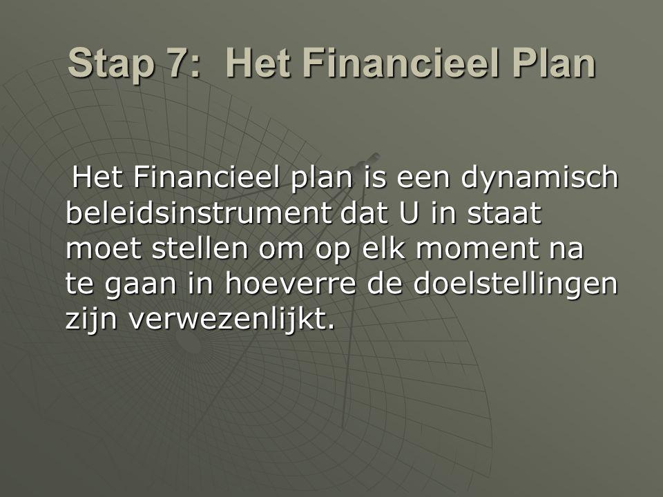 Stap 7: Het Financieel Plan Het Financieel plan is een dynamisch beleidsinstrument dat U in staat moet stellen om op elk moment na te gaan in hoeverre