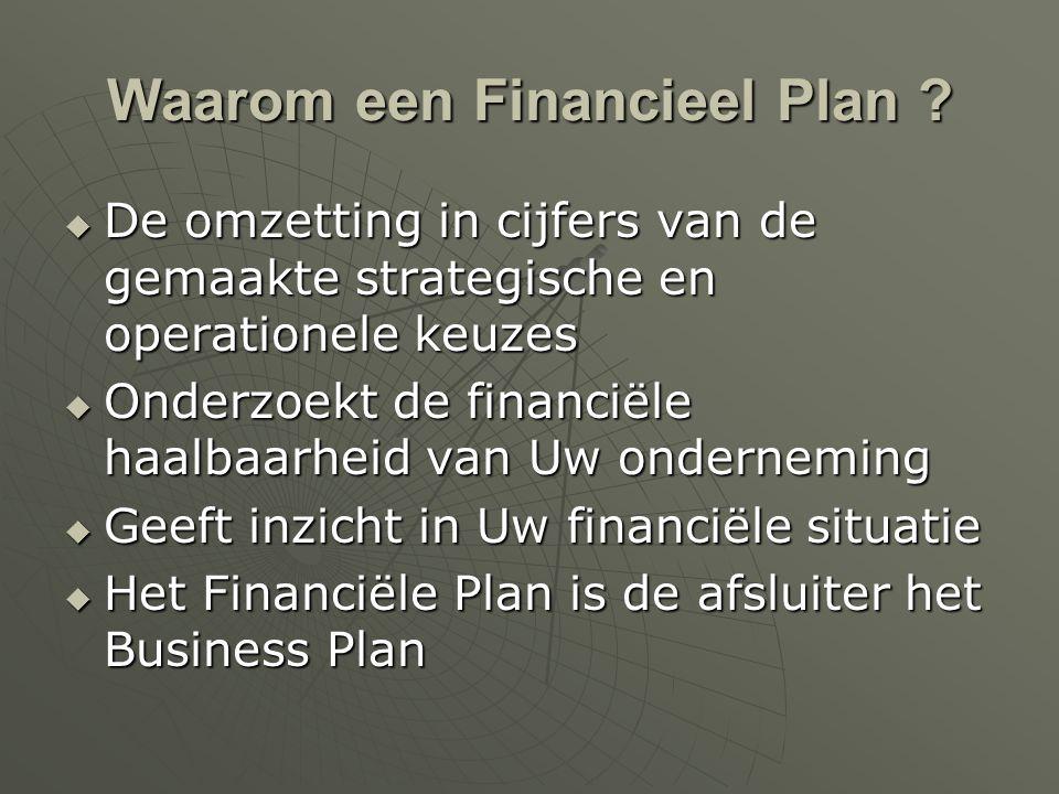 Waarom een Financieel Plan ?  De omzetting in cijfers van de gemaakte strategische en operationele keuzes  Onderzoekt de financiële haalbaarheid van