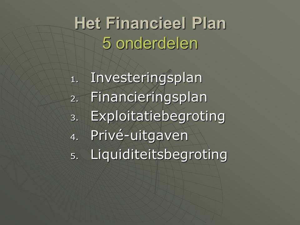 Het Financieel Plan 5 onderdelen 1. Investeringsplan 2. Financieringsplan 3. Exploitatiebegroting 4. Privé-uitgaven 5. Liquiditeitsbegroting