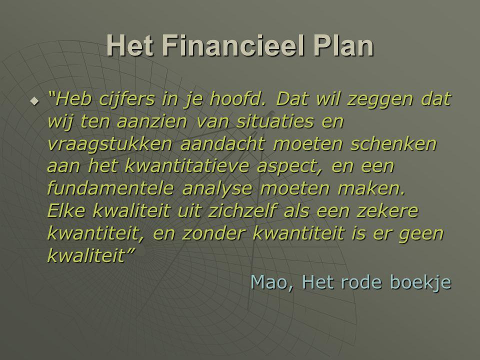 """Het Financieel Plan  """"Heb cijfers in je hoofd. Dat wil zeggen dat wij ten aanzien van situaties en vraagstukken aandacht moeten schenken aan het kwan"""