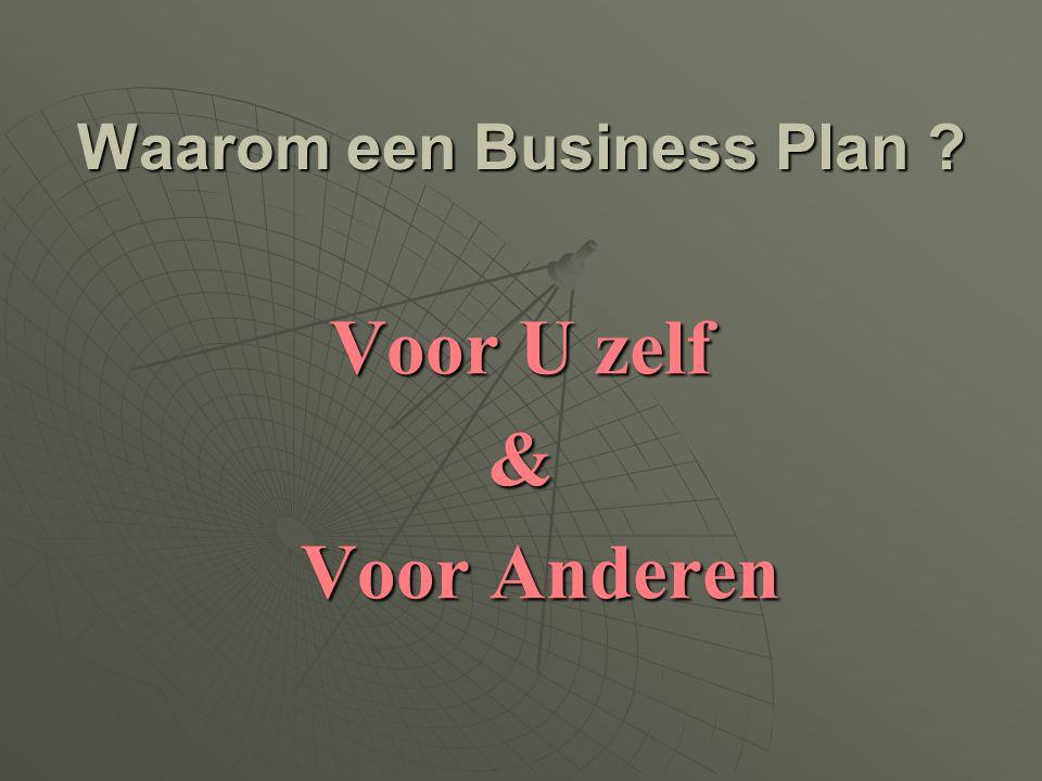 Waarom een Business Plan ? Voor U zelf & Voor Anderen Voor Anderen