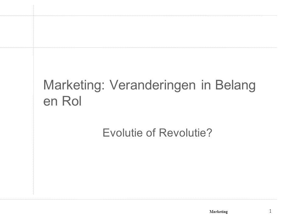 Marketing 12 Vertrekpunt - ingesteldheid Functionele benadering = wat de marketeer doet om zijn resultaten te behalen Strategische benadering = de ingesteldheid van iedereen binnen de onderneming om klantgericht te werken