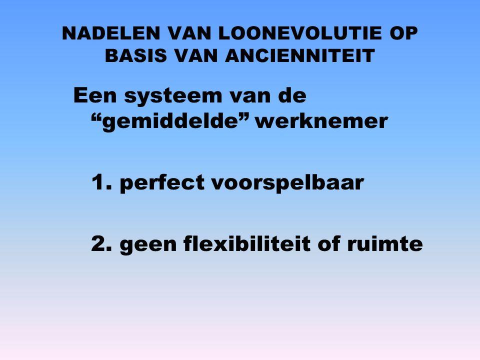 """NADELEN VAN LOONEVOLUTIE OP BASIS VAN ANCIENNITEIT Een systeem van de """"gemiddelde"""" werknemer 1. perfect voorspelbaar 2. geen flexibiliteit of ruimte"""