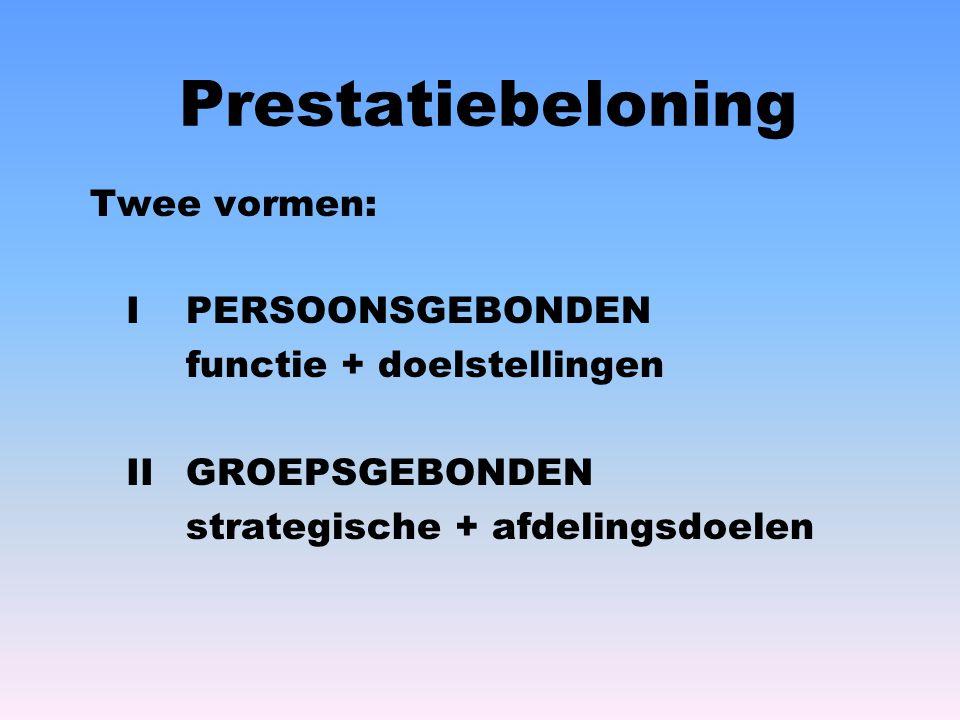 Prestatiebeloning Twee vormen: I PERSOONSGEBONDEN functie + doelstellingen IIGROEPSGEBONDEN strategische + afdelingsdoelen