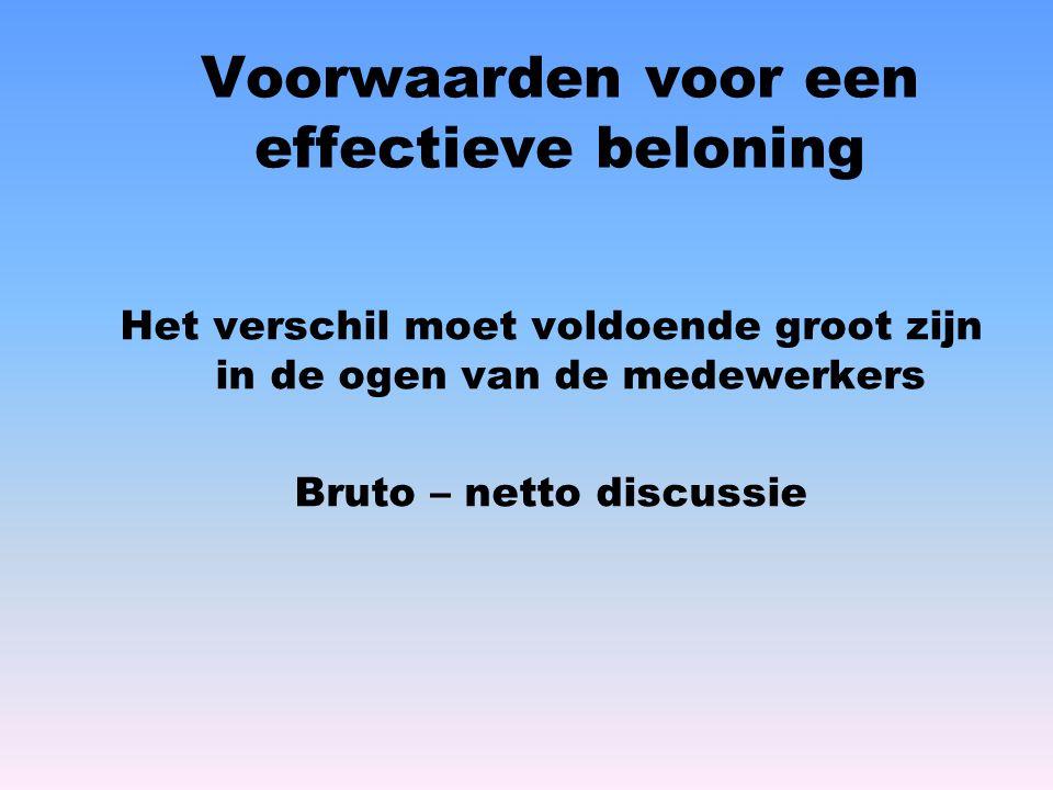 Voorwaarden voor een effectieve beloning Het verschil moet voldoende groot zijn in de ogen van de medewerkers Bruto – netto discussie