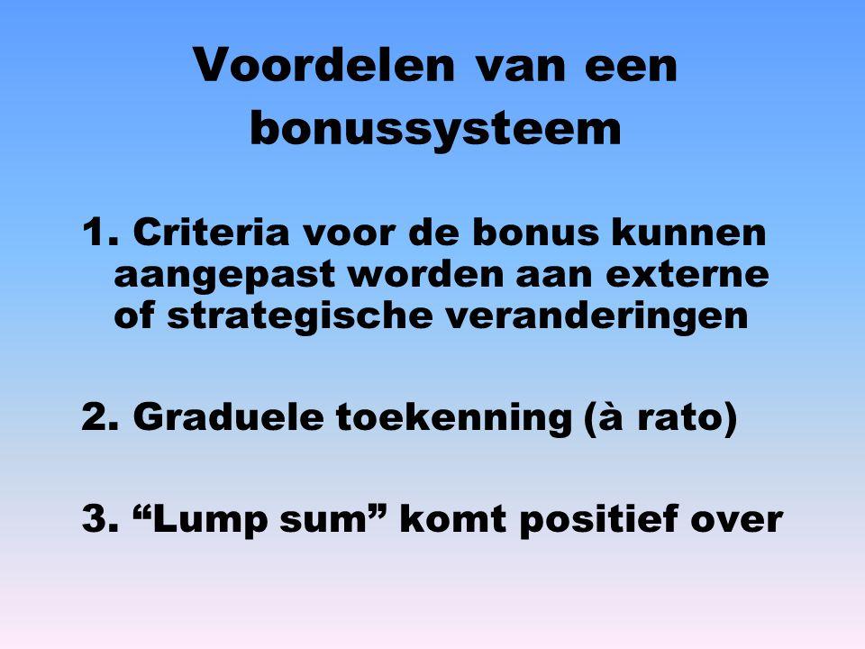 Voordelen van een bonussysteem 1. Criteria voor de bonus kunnen aangepast worden aan externe of strategische veranderingen 2. Graduele toekenning (à r