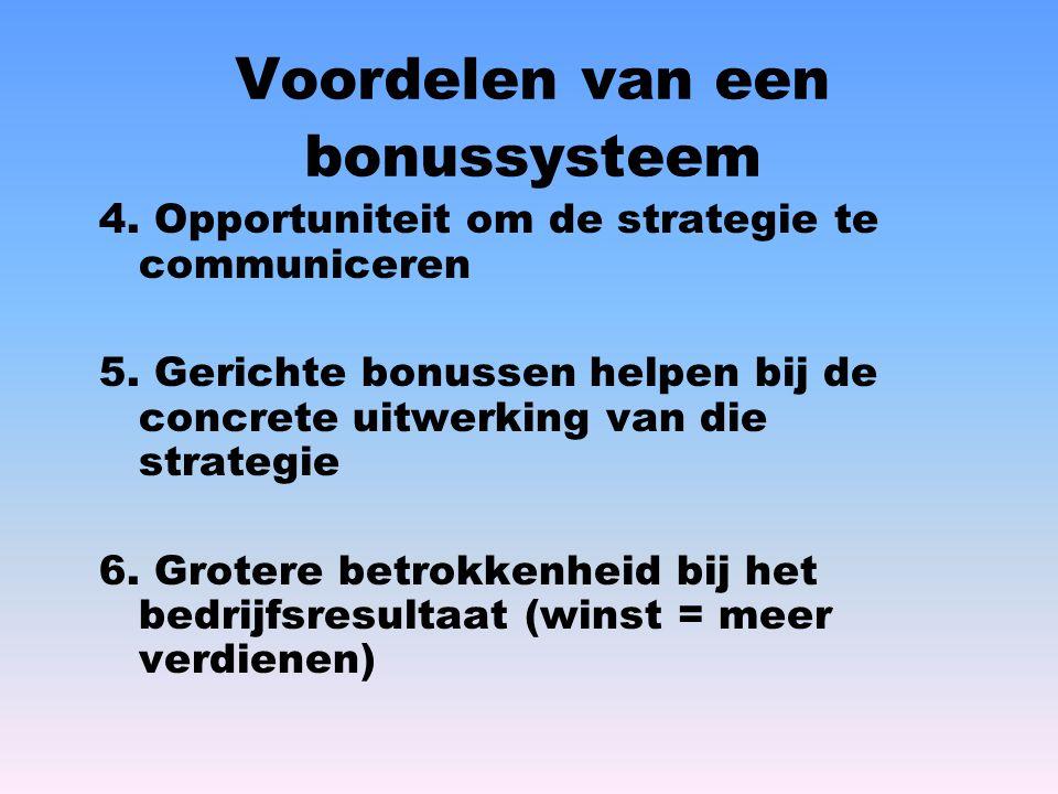 Voordelen van een bonussysteem 4. Opportuniteit om de strategie te communiceren 5. Gerichte bonussen helpen bij de concrete uitwerking van die strateg