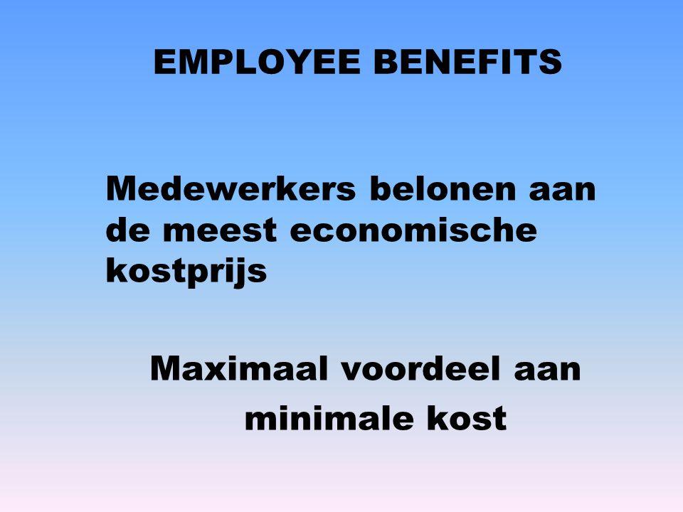 EMPLOYEE BENEFITS Medewerkers belonen aan de meest economische kostprijs Maximaal voordeel aan minimale kost