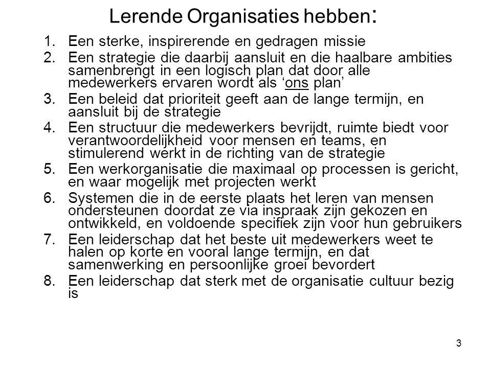 Lerende Organisaties hebben: vervolg 9.
