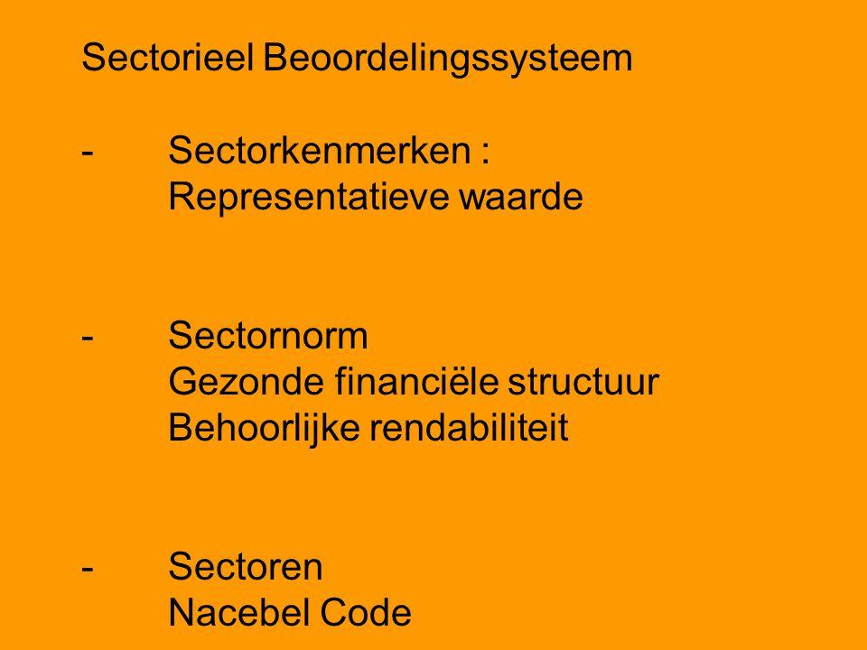 Sectorieel Beoordelingssysteem -Sectorkenmerken : Representatieve waarde -Sectornorm Gezonde financiële structuur Behoorlijke rendabiliteit -Sectoren