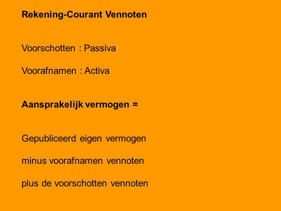 Rekening-Courant Vennoten Voorschotten : Passiva Voorafnamen : Activa Aansprakelijk vermogen = Gepubliceerd eigen vermogen minus voorafnamen vennoten