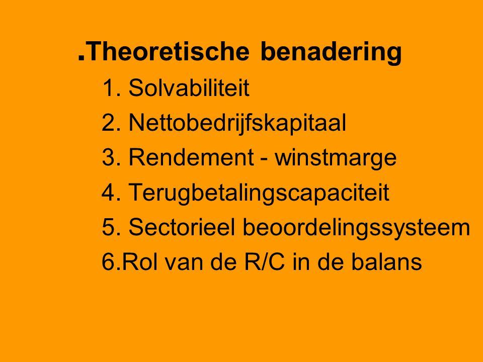 . Theoretische benadering 1. Solvabiliteit 2. Nettobedrijfskapitaal 3. Rendement - winstmarge 4. Terugbetalingscapaciteit 5. Sectorieel beoordelingssy