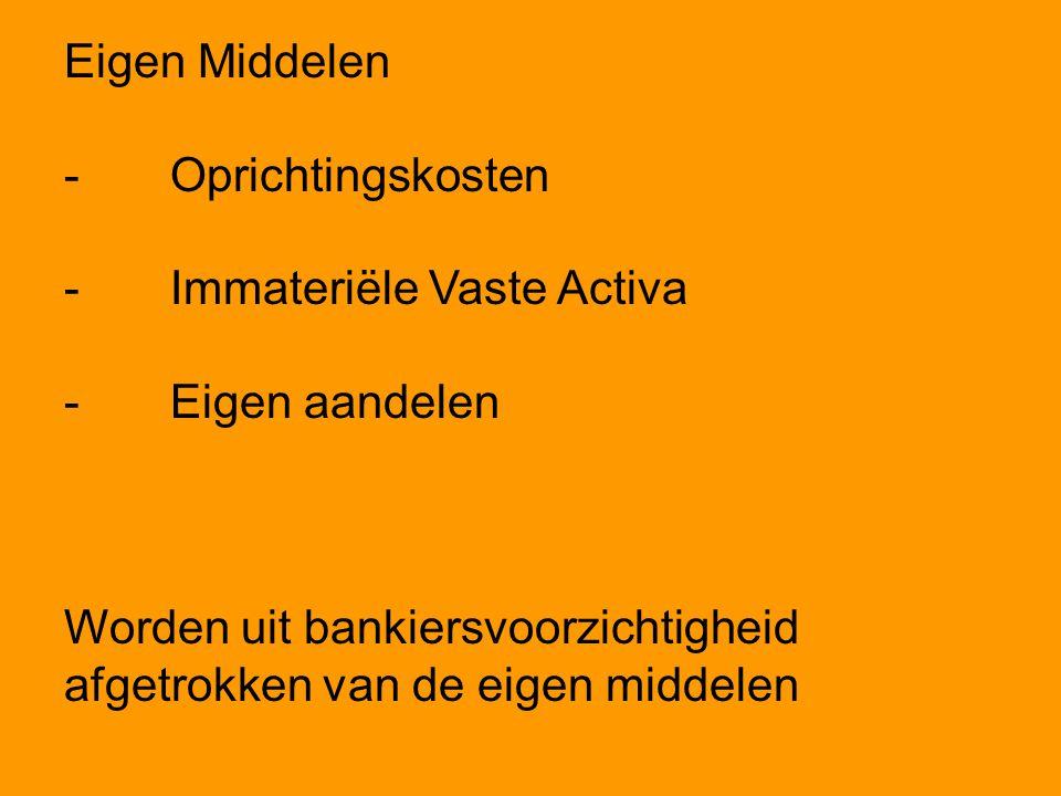 Eigen Middelen -Oprichtingskosten -Immateriële Vaste Activa -Eigen aandelen Worden uit bankiersvoorzichtigheid afgetrokken van de eigen middelen
