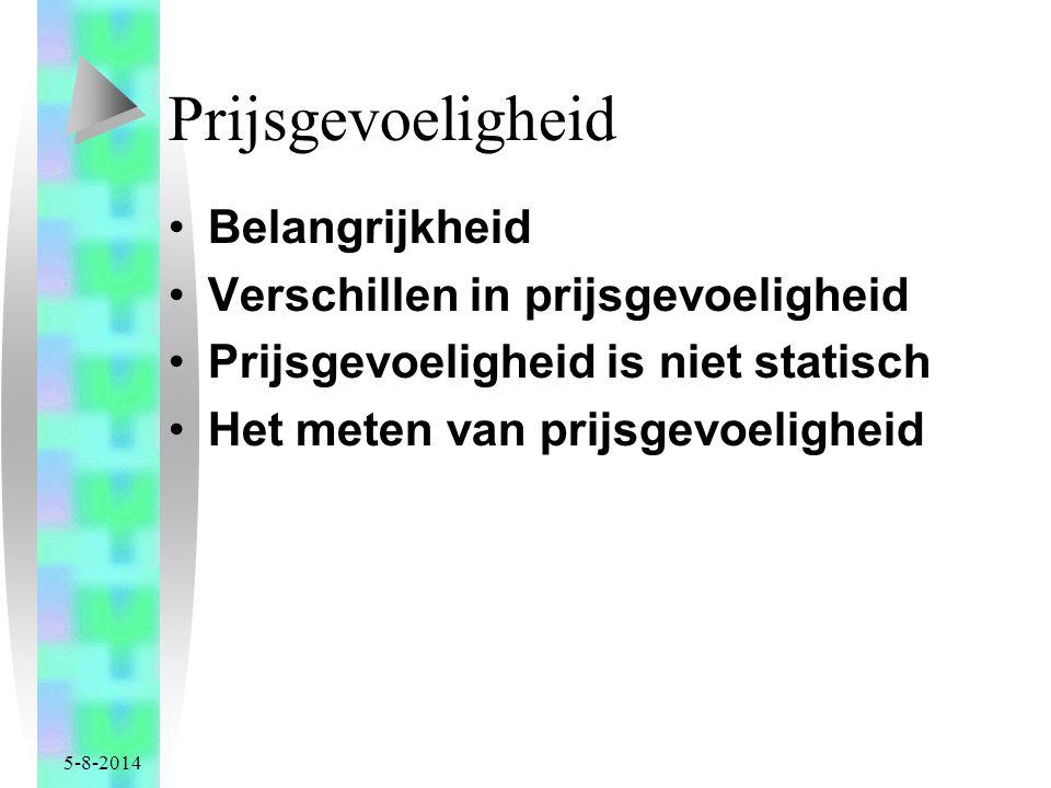 5-8-2014 Prijsgevoeligheid Belangrijkheid Verschillen in prijsgevoeligheid Prijsgevoeligheid is niet statisch Het meten van prijsgevoeligheid