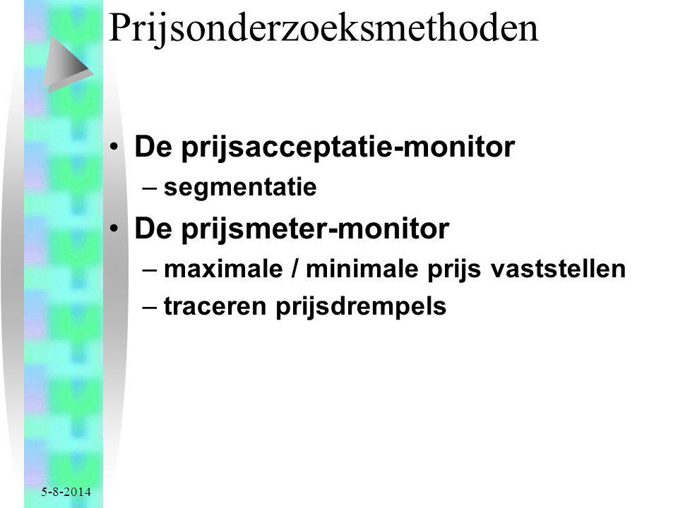 5-8-2014 Prijsonderzoeksmethoden De prijsacceptatie-monitor –segmentatie De prijsmeter-monitor –maximale / minimale prijs vaststellen –traceren prijsdrempels