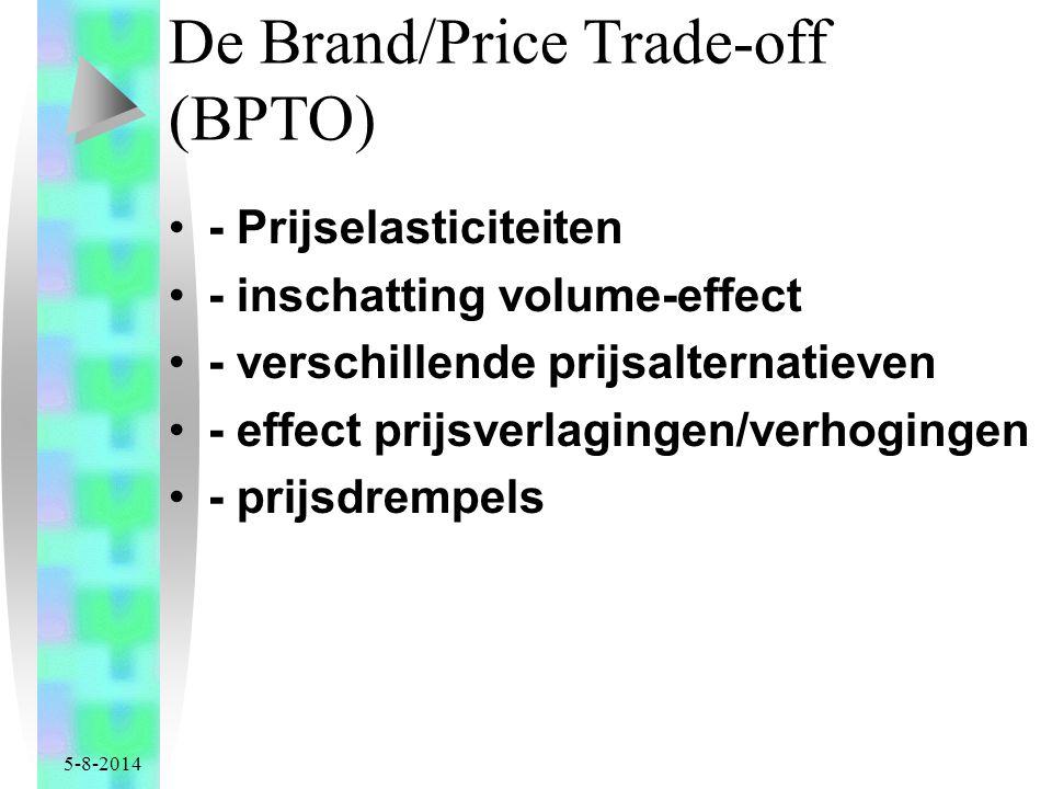 5-8-2014 De Brand/Price Trade-off (BPTO) - Prijselasticiteiten - inschatting volume-effect - verschillende prijsalternatieven - effect prijsverlagingen/verhogingen - prijsdrempels