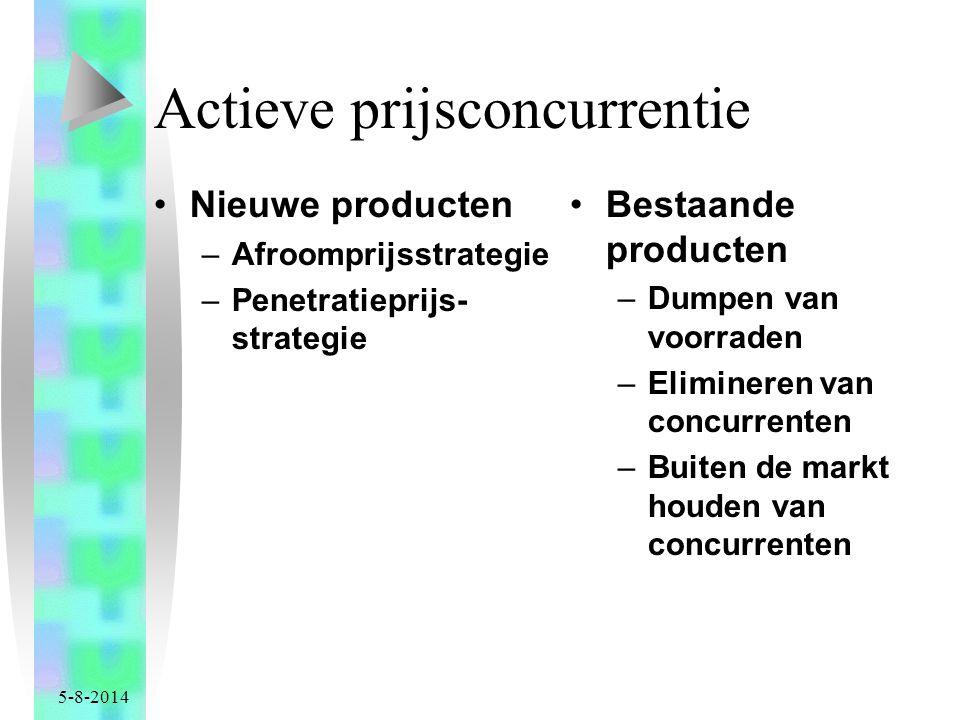 5-8-2014 Actieve prijsconcurrentie Nieuwe producten –Afroomprijsstrategie –Penetratieprijs- strategie Bestaande producten –Dumpen van voorraden –Elimineren van concurrenten –Buiten de markt houden van concurrenten