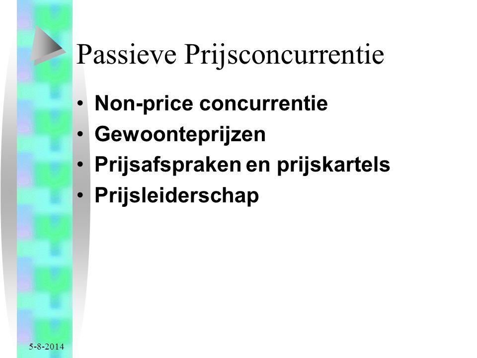 5-8-2014 Passieve Prijsconcurrentie Non-price concurrentie Gewoonteprijzen Prijsafspraken en prijskartels Prijsleiderschap