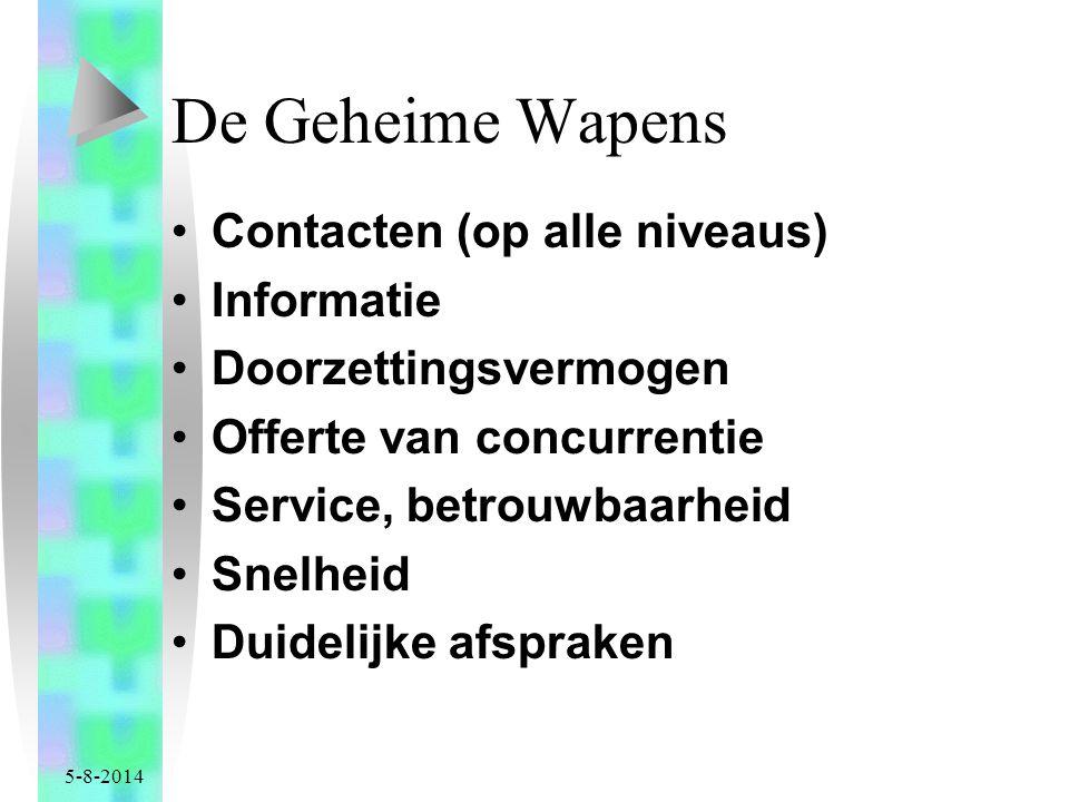 5-8-2014 De Geheime Wapens Contacten (op alle niveaus) Informatie Doorzettingsvermogen Offerte van concurrentie Service, betrouwbaarheid Snelheid Duidelijke afspraken