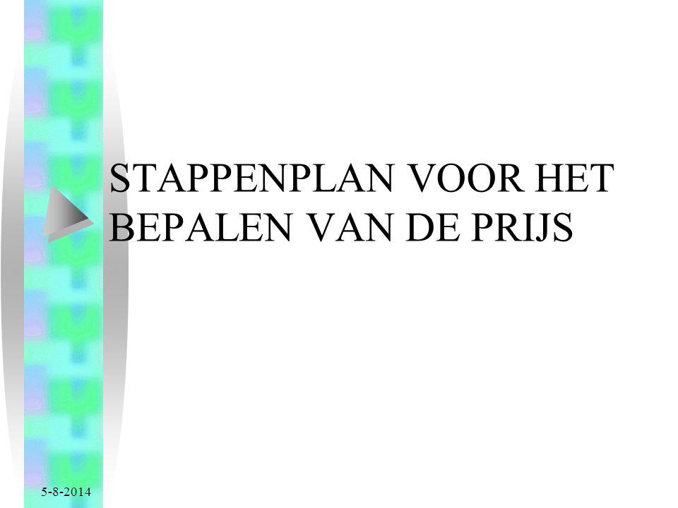 5-8-2014 STAPPENPLAN VOOR HET BEPALEN VAN DE PRIJS