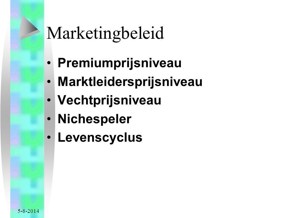 5-8-2014 Marketingbeleid Premiumprijsniveau Marktleidersprijsniveau Vechtprijsniveau Nichespeler Levenscyclus