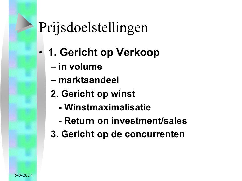 5-8-2014 Prijsdoelstellingen 1.Gericht op Verkoop –in volume –marktaandeel 2.