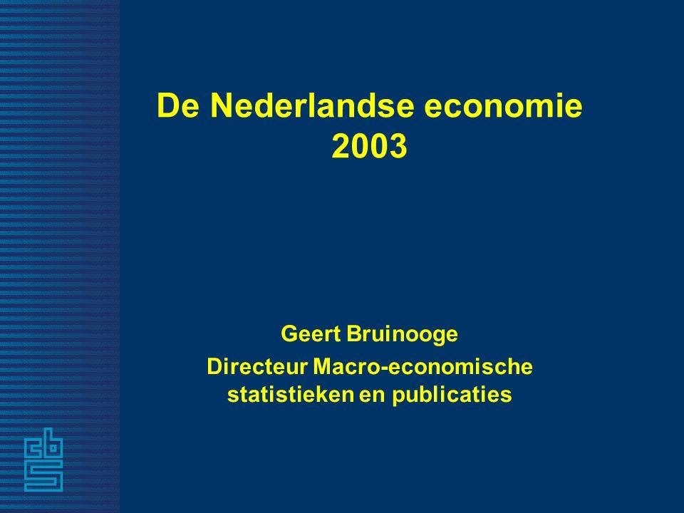 De Nederlandse economie 2003 Geert Bruinooge Directeur Macro-economische statistieken en publicaties