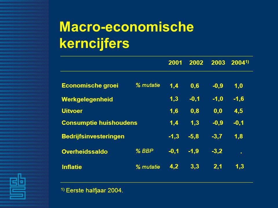 200120022003 Economische groei % mutatie 1,40,6-0,9 Werkgelegenheid 1,3-0,1-1,0 Inflatie 4,23,32,1 Overheidssaldo % BBP -0,1-1,9-3,2 Uitvoer 1,60,80,0 1,41,3-0,9 % mutatie Consumptie huishoudens -1,3-5,8-3,7Bedrijfsinvesteringen 2004 1).