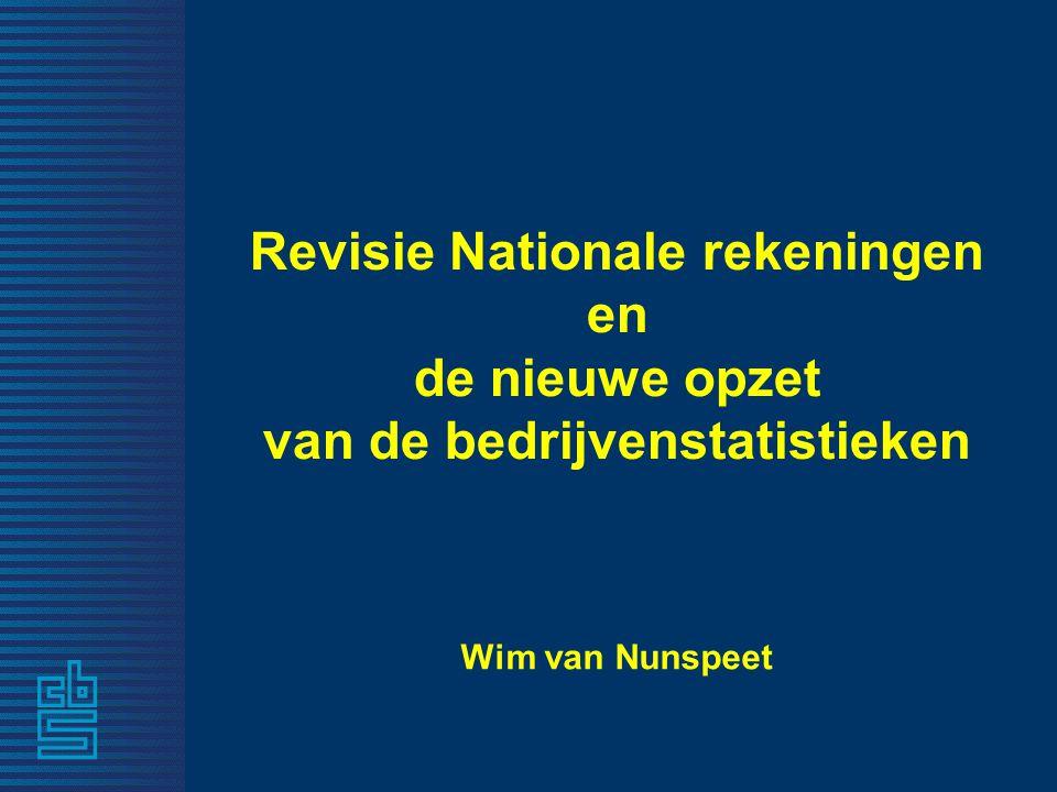 Revisie Nationale rekeningen en de nieuwe opzet van de bedrijvenstatistieken Wim van Nunspeet
