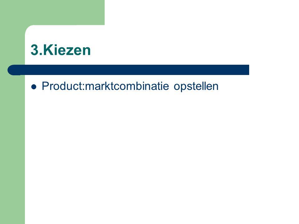 3.Kiezen(vervolg) Groeimogelijkheden nagaan – Verdiepen, opwaarderen, kruisverkoop en verbreden – Productaanbod vernieuwen – Nieuwe marktsegmenten aanboren – Differentiatie – Integratie