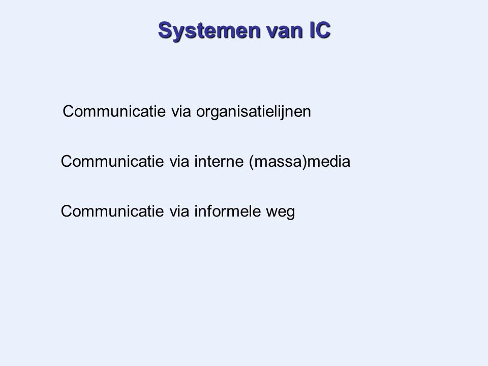 Systemen van IC Communicatie via organisatielijnen Communicatie via interne (massa)media Communicatie via informele weg