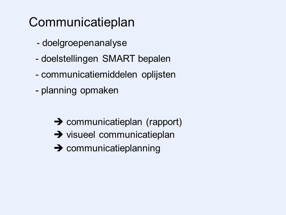 Communicatieplan - doelgroepenanalyse - doelstellingen SMART bepalen - communicatiemiddelen oplijsten - planning opmaken  communicatieplan (rapport)  visueel communicatieplan  communicatieplanning