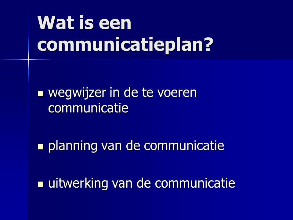 Wat is een communicatieplan? wegwijzer in de te voeren communicatie wegwijzer in de te voeren communicatie planning van de communicatie planning van d