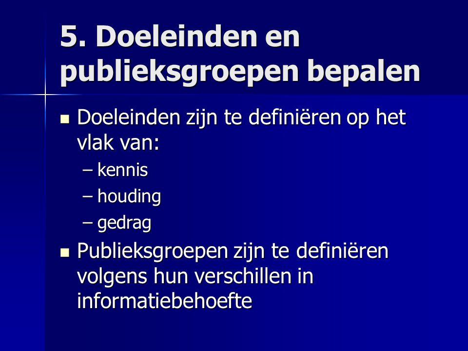 5. Doeleinden en publieksgroepen bepalen Doeleinden zijn te definiëren op het vlak van: Doeleinden zijn te definiëren op het vlak van: –kennis –houdin