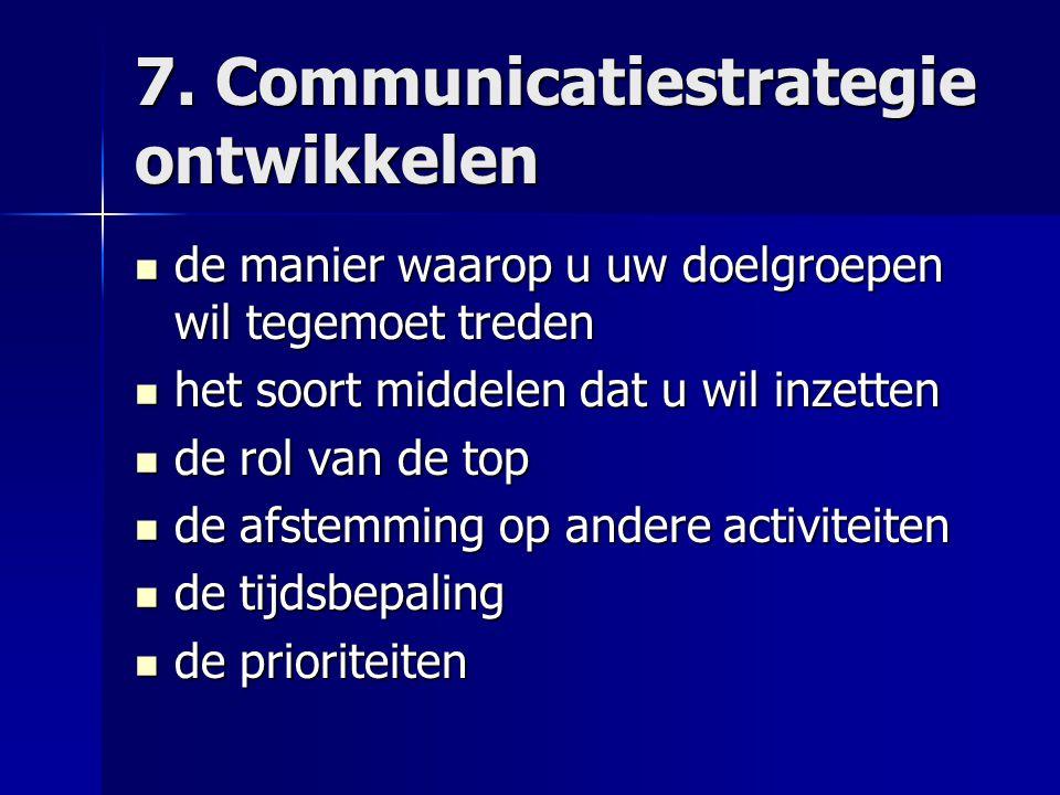 7. Communicatiestrategie ontwikkelen de manier waarop u uw doelgroepen wil tegemoet treden de manier waarop u uw doelgroepen wil tegemoet treden het s
