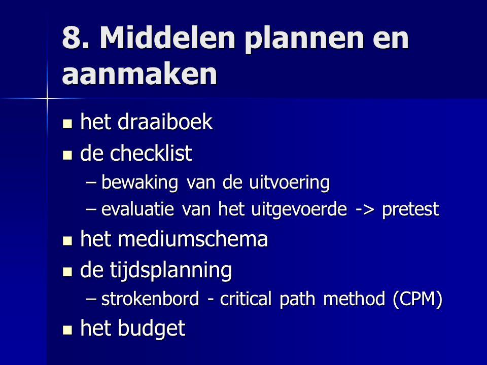 8. Middelen plannen en aanmaken het draaiboek het draaiboek de checklist de checklist –bewaking van de uitvoering –evaluatie van het uitgevoerde -> pr
