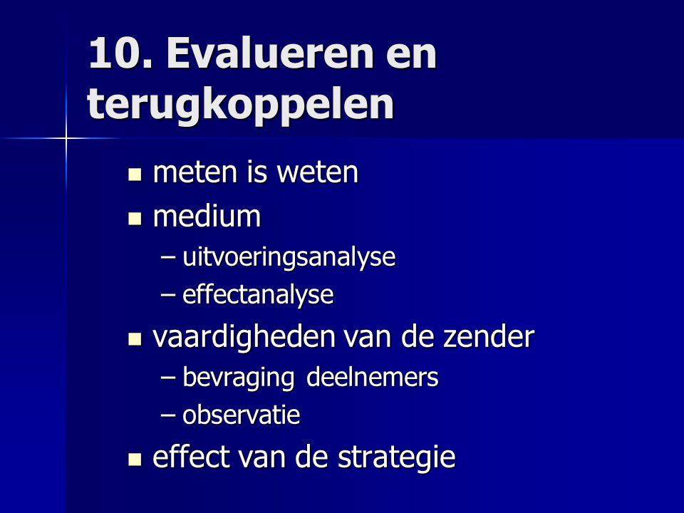 10. Evalueren en terugkoppelen meten is weten meten is weten medium medium –uitvoeringsanalyse –effectanalyse vaardigheden van de zender vaardigheden