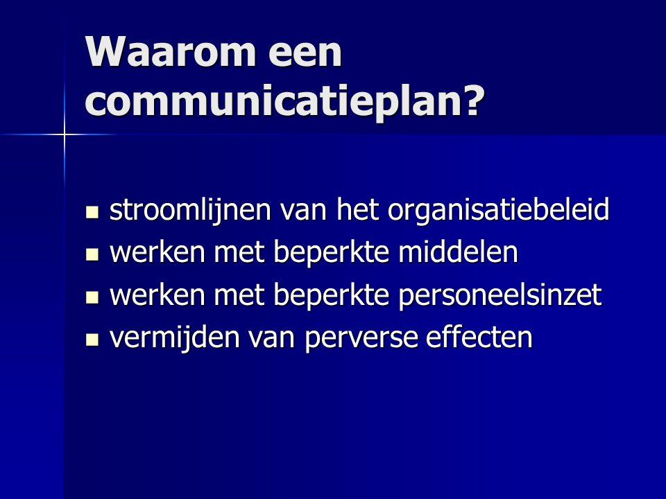 Waarom een communicatieplan? stroomlijnen van het organisatiebeleid stroomlijnen van het organisatiebeleid werken met beperkte middelen werken met bep