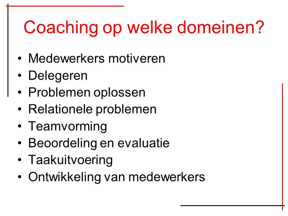 Coaching op welke domeinen? Medewerkers motiveren Delegeren Problemen oplossen Relationele problemen Teamvorming Beoordeling en evaluatie Taakuitvoeri