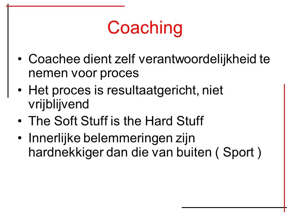 Coaching Coachee dient zelf verantwoordelijkheid te nemen voor proces Het proces is resultaatgericht, niet vrijblijvend The Soft Stuff is the Hard Stu