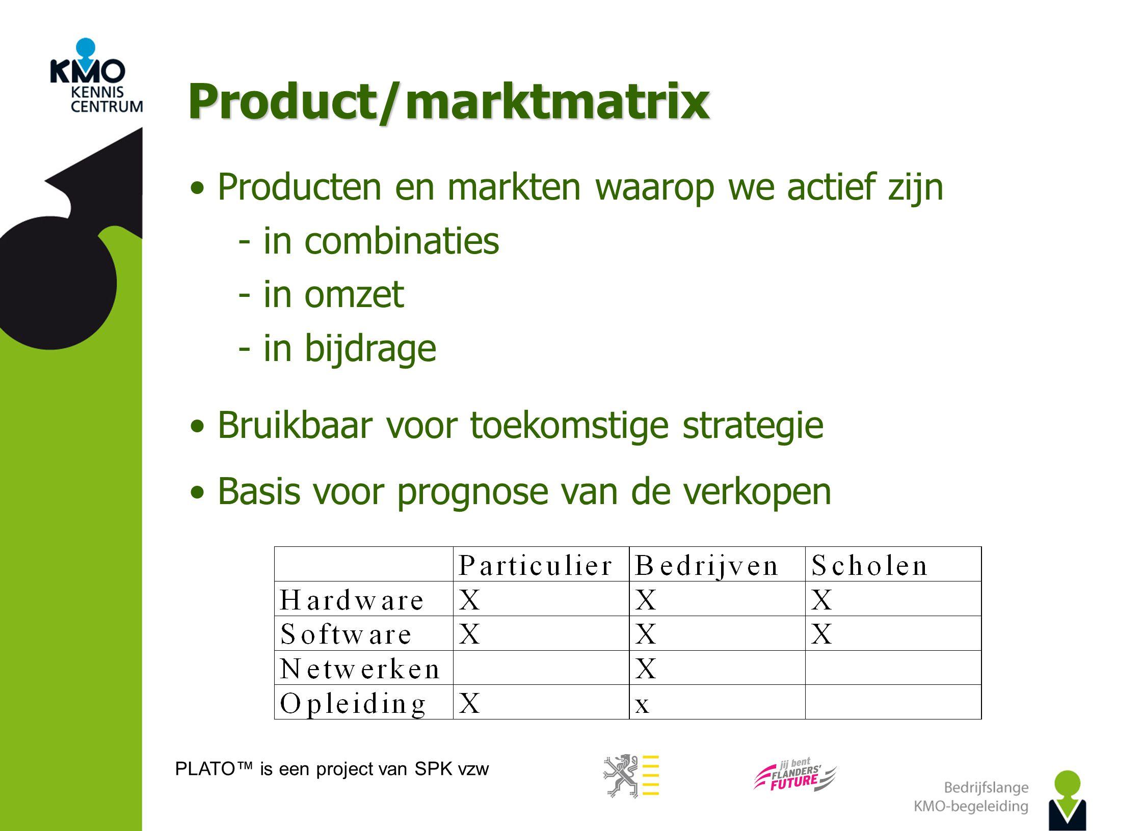PLATO™ is een project van SPK vzw Product/marktmatrix Producten en markten waarop we actief zijn  in combinaties  in omzet  in bijdrage Bruikbaar v
