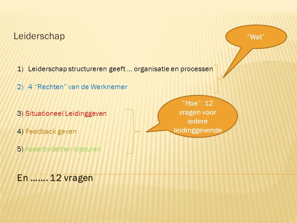 """1)Leiderschap structureren geeft … organisatie en processen 2)4 """"Rechten"""" van de Werknemer 3) Situationeel Leidinggeven 4) Feedback geven 5) Assertivi"""