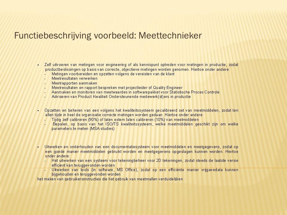 Functiebeschrijving voorbeeld: Meettechnieker