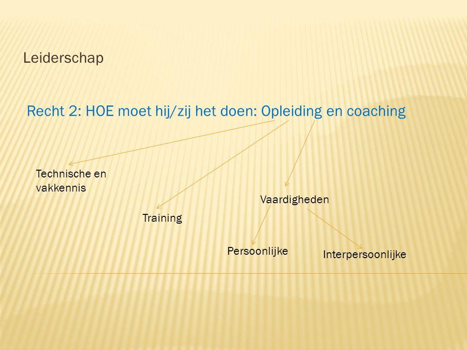 Recht 2: HOE moet hij/zij het doen: Opleiding en coaching Leiderschap Technische en vakkennis Vaardigheden Training Persoonlijke Interpersoonlijke