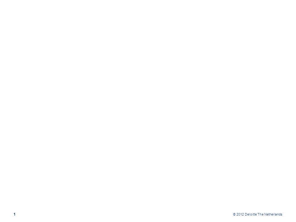 OndernemingSBR Proces Deloitte 2 Food Horeca Notariaat Eenmanszaak VOF BV Fiscaal BV Klein BV Middelgroot BV Groot Bedrijfsspecifieke extensies Grootboek Client Grootboek client Grootboek client Grootboek client ± 1200 standaard rekeningnummers Starreveld+ Uitsplitsing om automatisch verloopstaten mogelijk te maken Rekening schema alleen aan te vullen Volledige basis voor publicatiestukken Standaard Rekeningschema Nederlandse Taxonomie Directe mapping naar KvK publicatiestuk Onderhoud voor wijzigingen in structuur en inhoud NT vergt jaarlijks nieuwe mapping