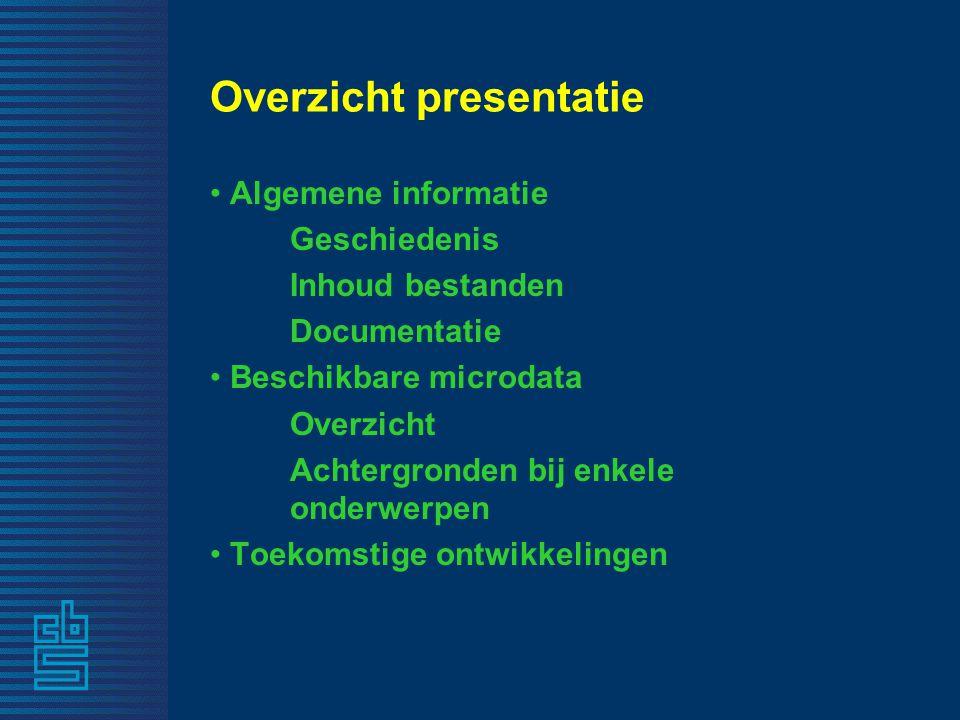 Overzicht presentatie Algemene informatie Geschiedenis Inhoud bestanden Documentatie Beschikbare microdata Overzicht Achtergronden bij enkele onderwerpen Toekomstige ontwikkelingen