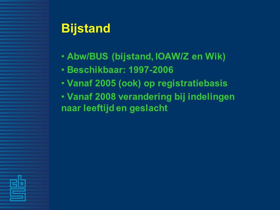 Bijstand Abw/BUS (bijstand, IOAW/Z en Wik) Beschikbaar: 1997-2006 Vanaf 2005 (ook) op registratiebasis Vanaf 2008 verandering bij indelingen naar leeftijd en geslacht