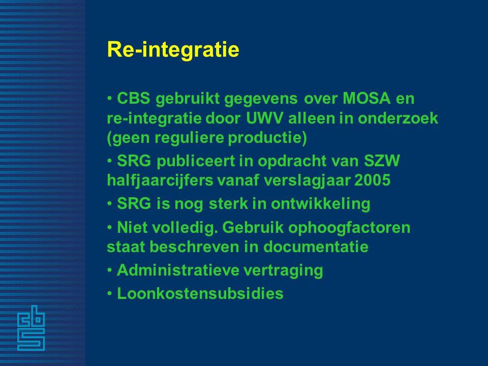 Re-integratie CBS gebruikt gegevens over MOSA en re-integratie door UWV alleen in onderzoek (geen reguliere productie) SRG publiceert in opdracht van SZW halfjaarcijfers vanaf verslagjaar 2005 SRG is nog sterk in ontwikkeling Niet volledig.