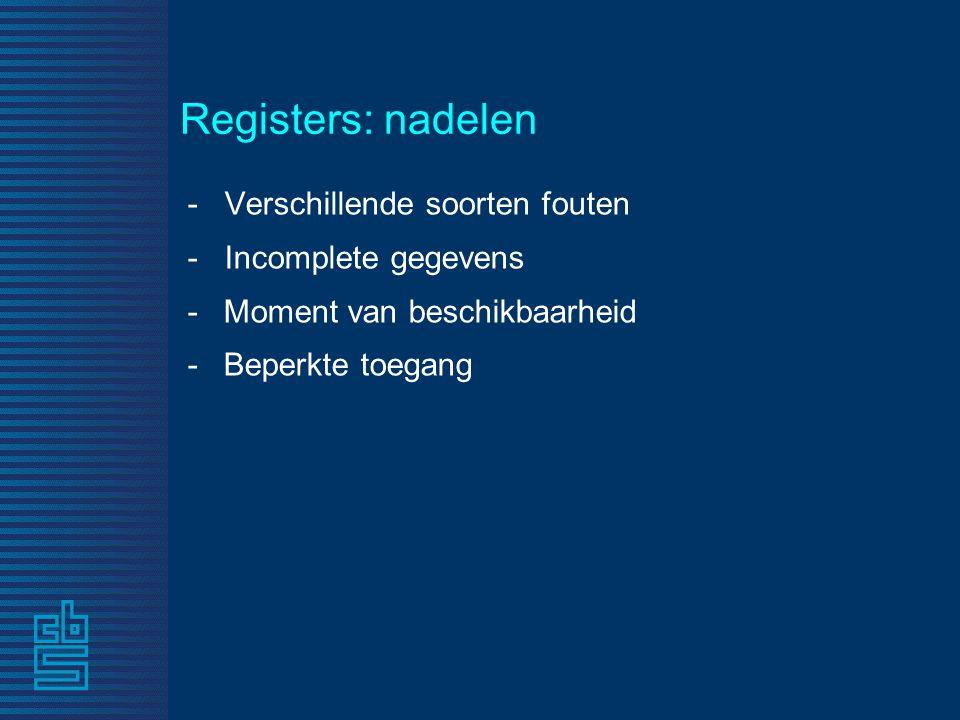 - Verschillende soorten fouten - Incomplete gegevens -Moment van beschikbaarheid -Beperkte toegang Registers: nadelen