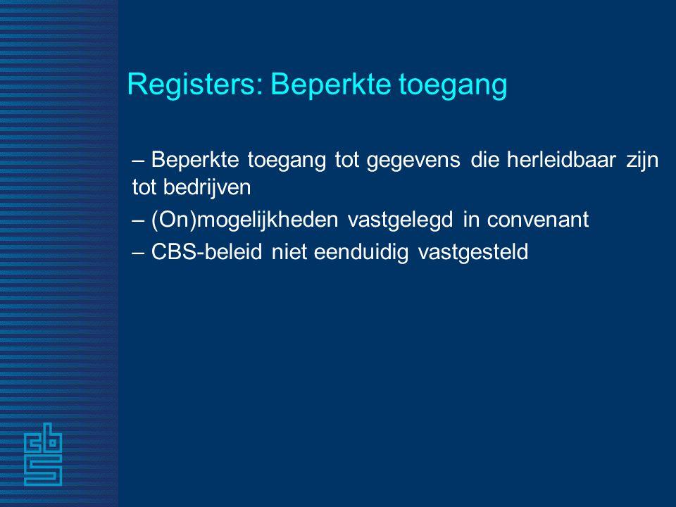 Registers: Beperkte toegang – Beperkte toegang tot gegevens die herleidbaar zijn tot bedrijven – (On)mogelijkheden vastgelegd in convenant – CBS-beleid niet eenduidig vastgesteld